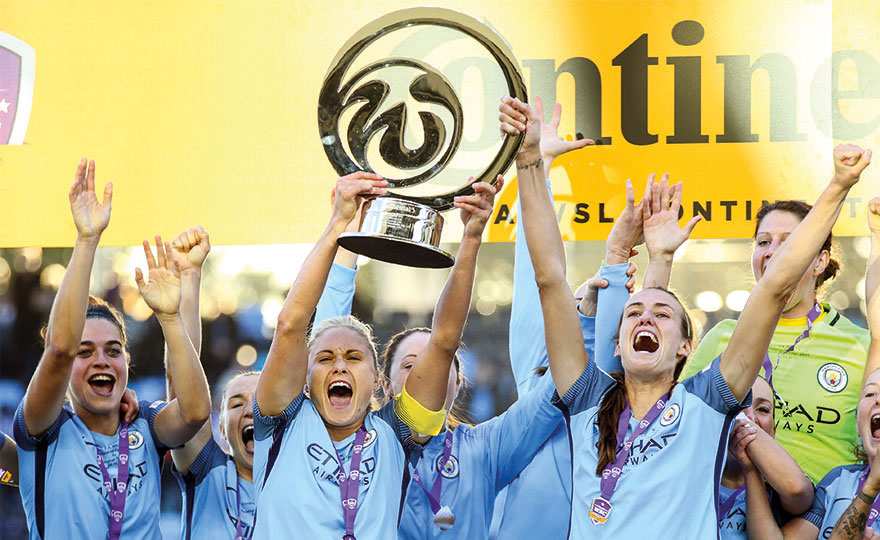 Manchester City's Steph Houghton and Jill Scott lift the trophy as Manchester City Women celebrate winning the continental cup